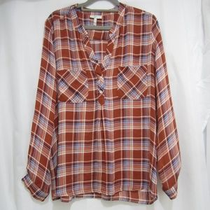 "Joie M Plaid Fall Popover Shirt Tunic 40"" Bust"